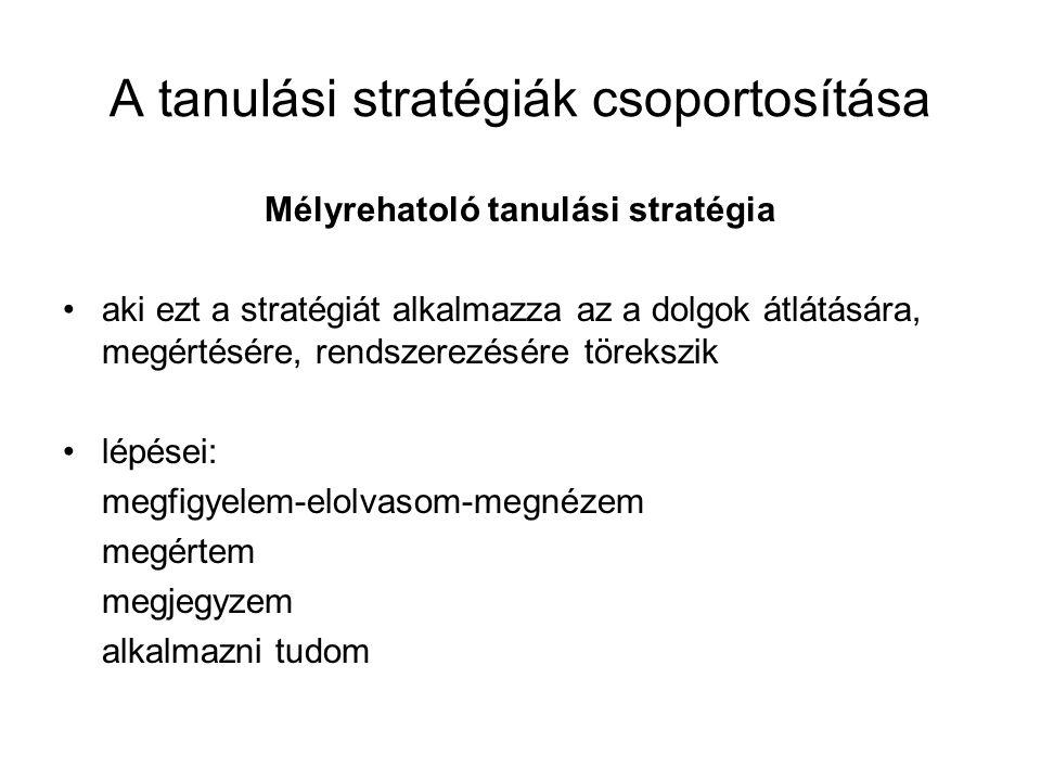 A tanulási stratégiák csoportosítása Mélyrehatoló tanulási stratégia aki ezt a stratégiát alkalmazza az a dolgok átlátására, megértésére, rendszerezés