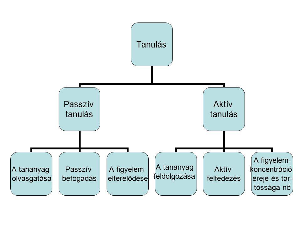 Tanulás Passzív tanulás A tananyag olvasgatása Passzív befogadás A figyelem elterelődése Aktív tanulás A tananyag feldolgozása Aktív felfedezés A figy