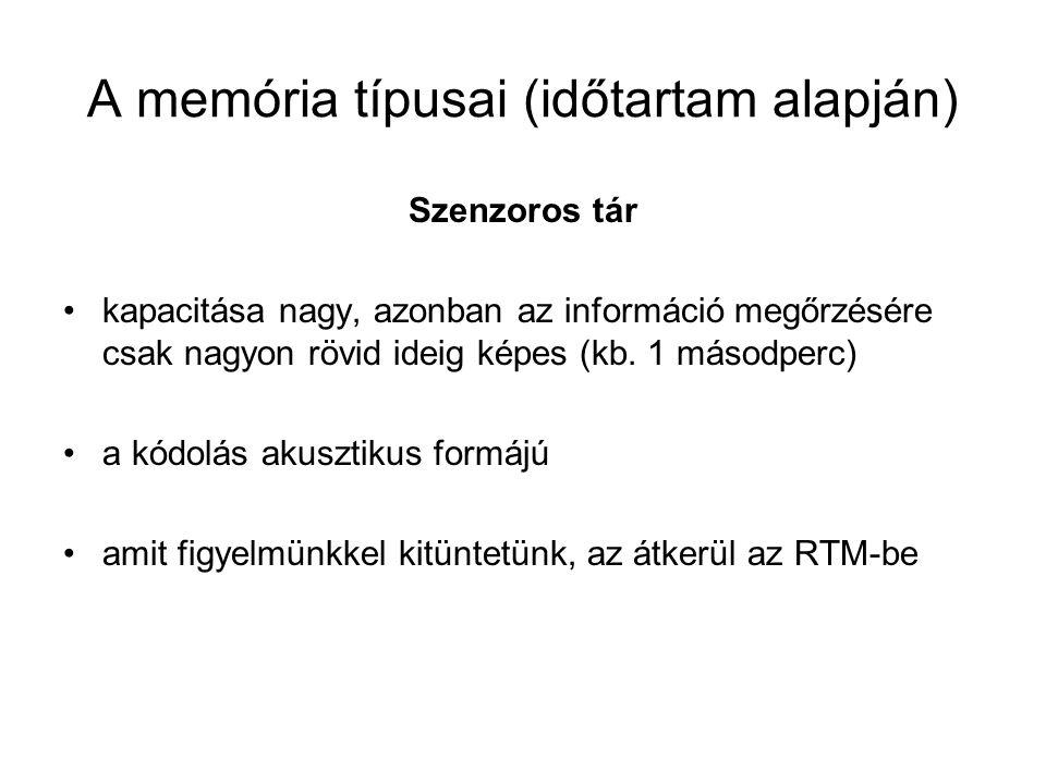 A memória típusai (időtartam alapján) Rövid távú memória (RTM) kapacitása korlátozott (7+/-2 egység), megőrzési ideje 15-20 másodperc a kódolás akusztikus vagy vizuális az információt vagy abban az egységben tároljuk, ami- ben kaptuk, vagy tömbösítjük – rendező elv.