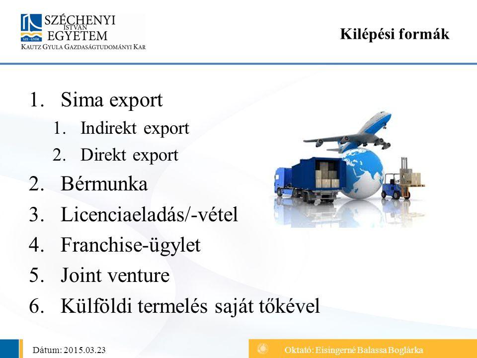 1.Sima export 1.Indirekt export 2.Direkt export 2.Bérmunka 3.Licenciaeladás/-vétel 4.Franchise-ügylet 5.Joint venture 6.Külföldi termelés saját tőkéve