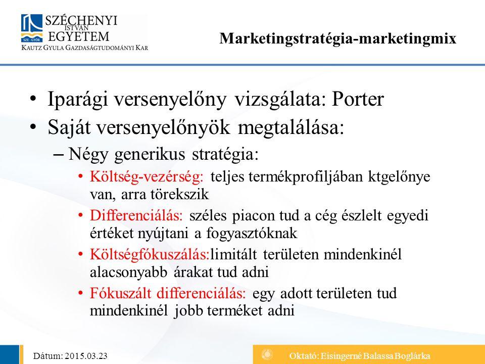 Iparági versenyelőny vizsgálata: Porter Saját versenyelőnyök megtalálása: – Négy generikus stratégia: Költség-vezérség: teljes termékprofiljában ktgel