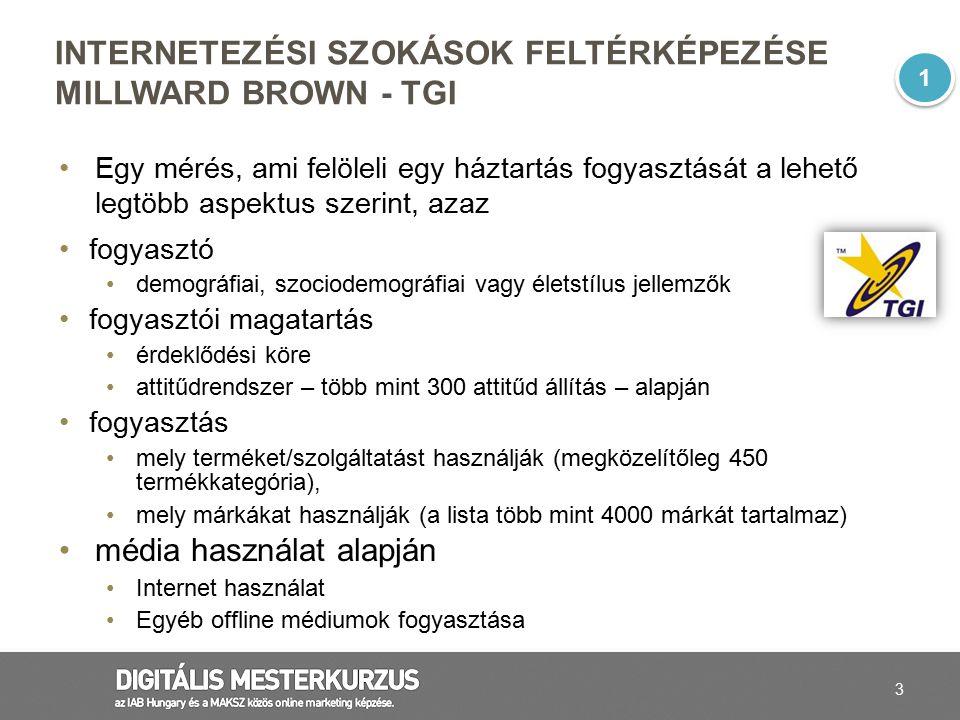 24 A 15-69 éves magyar lakosság 69%-a internetezik legalább hetente Forrás: Nemzeti Olvasottság Kutatás 2013/Q2 Bázis: 15-69 éves magyar lakosság