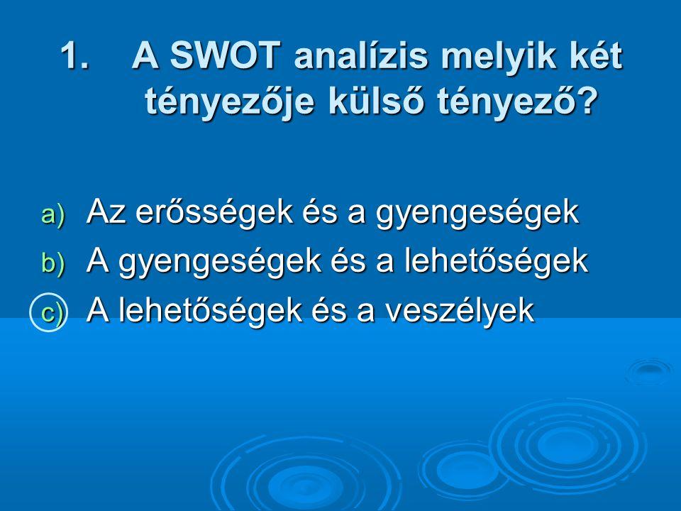 1.A SWOT analízis melyik két tényezője külső tényező.
