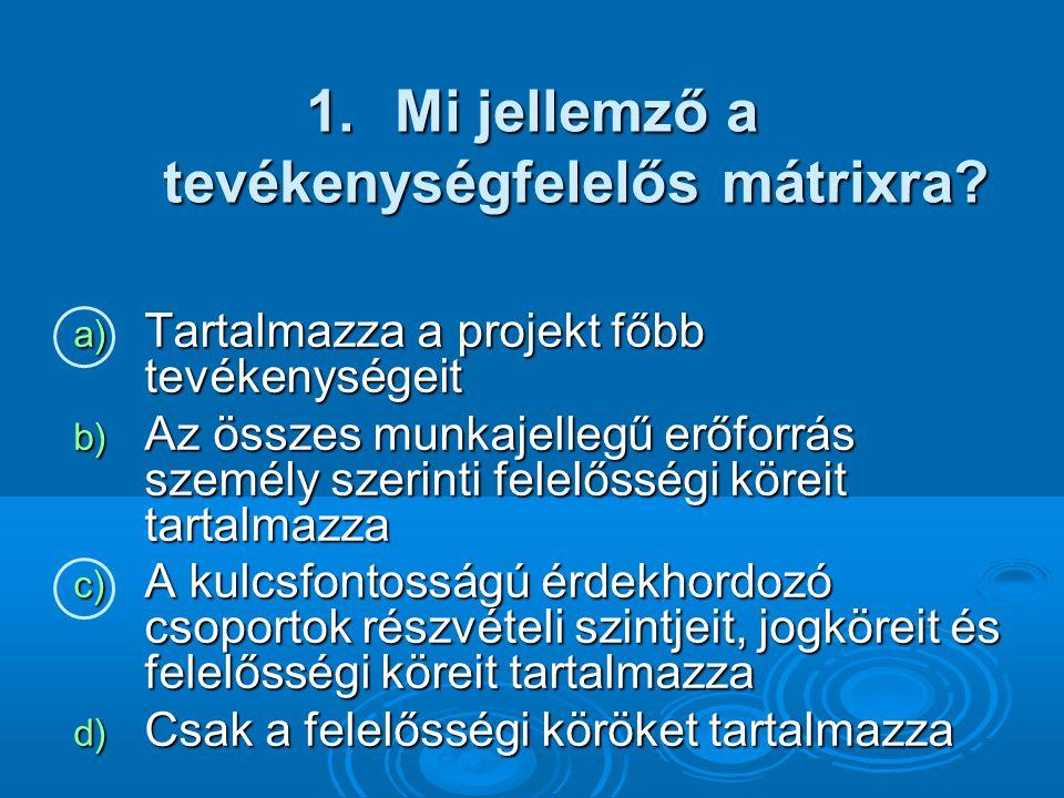 1.Mi jellemző a tevékenységfelelős mátrixra.
