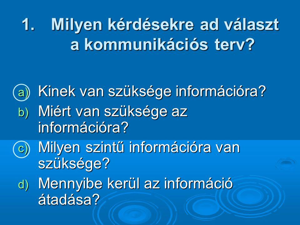 1.Milyen kérdésekre ad választ a kommunikációs terv.