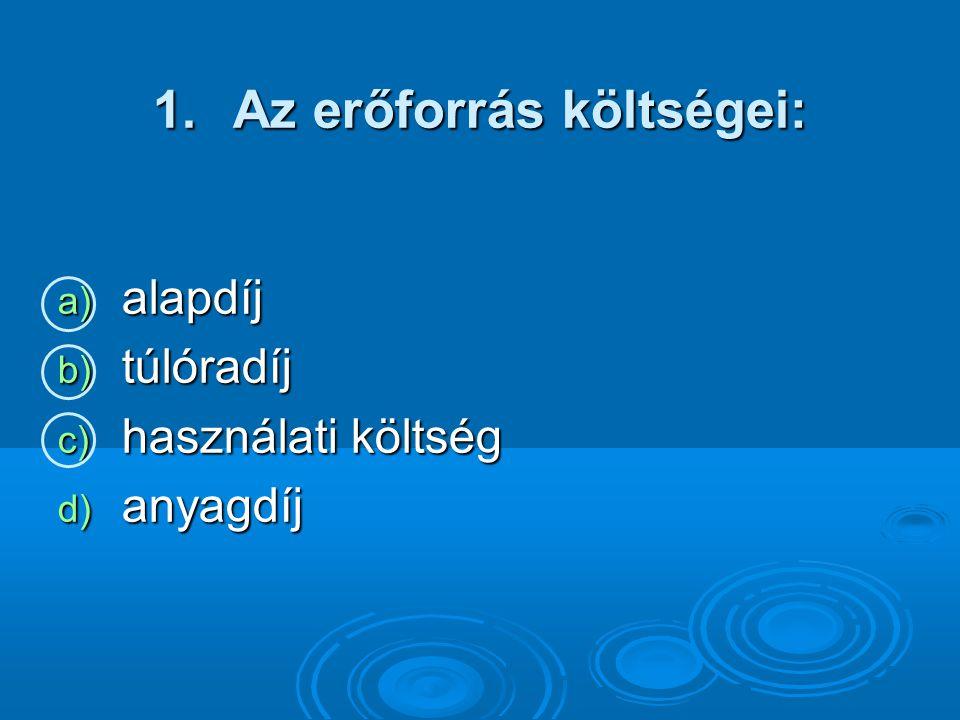1.Az erőforrás költségei: a) alapdíj b) túlóradíj c) használati költség d) anyagdíj