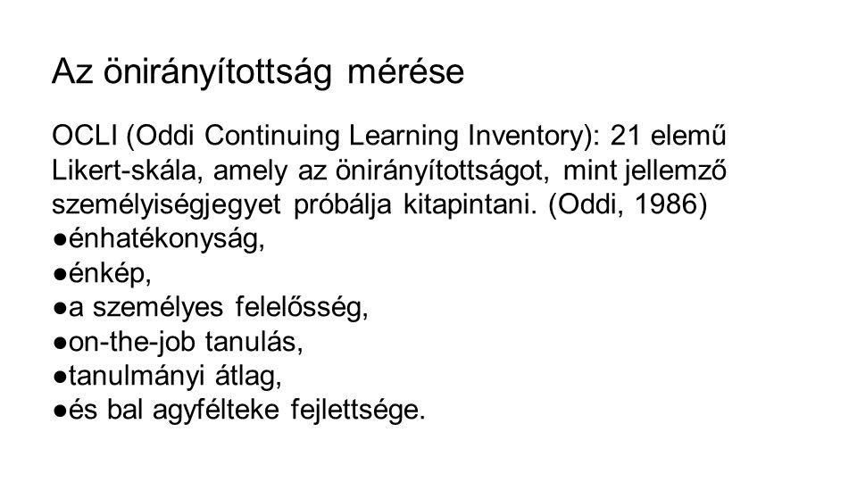 Az önirányítottság mérése OCLI (Oddi Continuing Learning Inventory): 21 elemű Likert-skála, amely az önirányítottságot, mint jellemző személyiségjegye