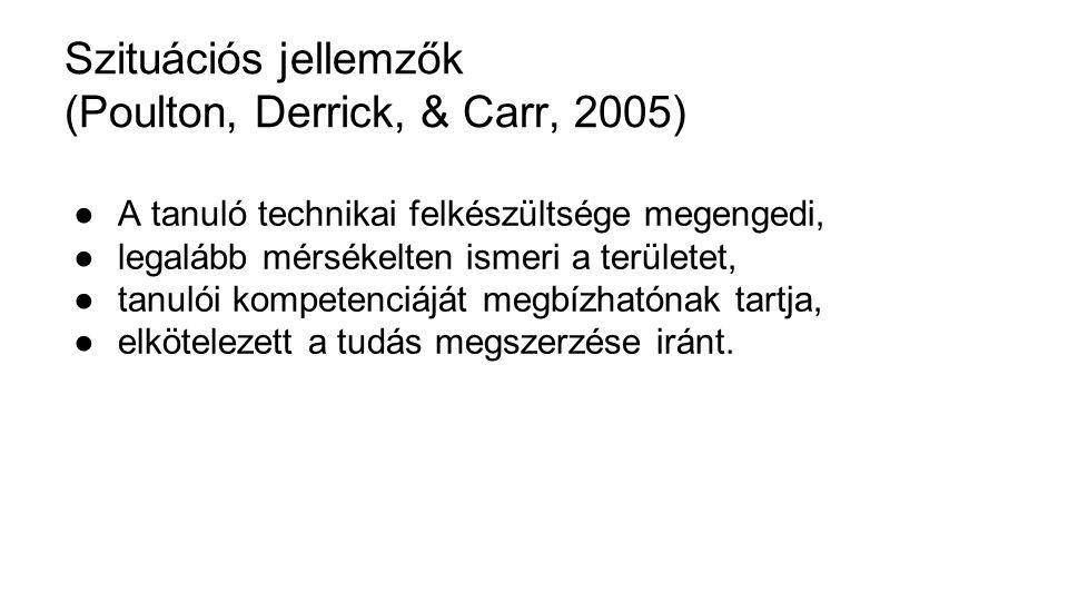 Szituációs jellemzők (Poulton, Derrick, & Carr, 2005) ●A tanuló technikai felkészültsége megengedi, ●legalább mérsékelten ismeri a területet, ●tanulói