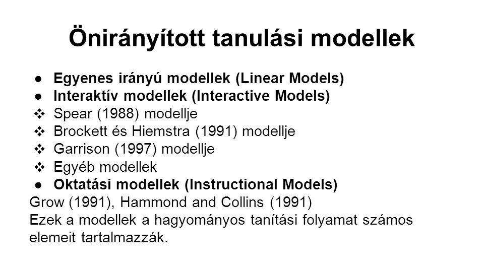 Önirányított tanulási modellek ●Egyenes irányú modellek (Linear Models) ●Interaktív modellek (Interactive Models) ❖ Spear (1988) modellje ❖ Brockett é
