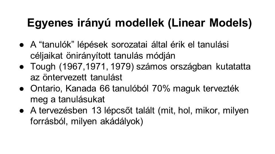 Egyenes irányú modellek (Linear Models) Knowles (1975) leírásában 6 fő lépcső van 1.atmoszféra megteremtése 2.tanulási szükségletek meghatározása 3.tanulási célok megfogalmazása 4.emberi és anyagi források megteremtése 5.megfelelő tanulási stratégiák kiválasztása, véghezvitele 6.tanulási eredmény értékelése Számos forrást jelöl meg mind a tanuló mind a tanár számára (tanulmányi szerződés, értékelés)