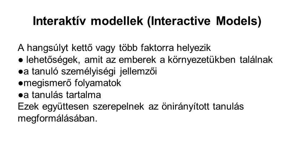 Interaktív modellek (Interactive Models) A hangsúlyt kettő vagy több faktorra helyezik ● lehetőségek, amit az emberek a környezetükben találnak ●a tan