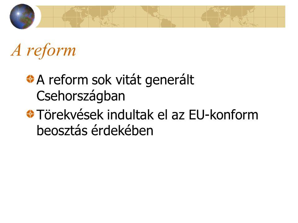 A reform A reform sok vitát generált Csehországban Törekvések indultak el az EU-konform beosztás érdekében