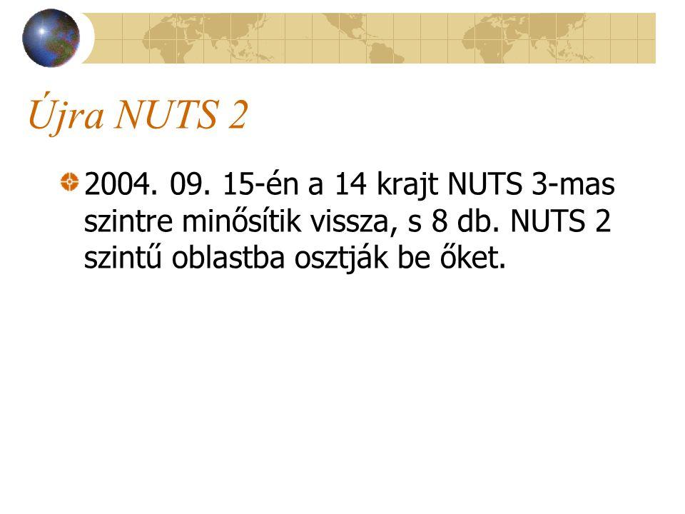 Újra NUTS 2 2004. 09. 15-én a 14 krajt NUTS 3-mas szintre minősítik vissza, s 8 db.