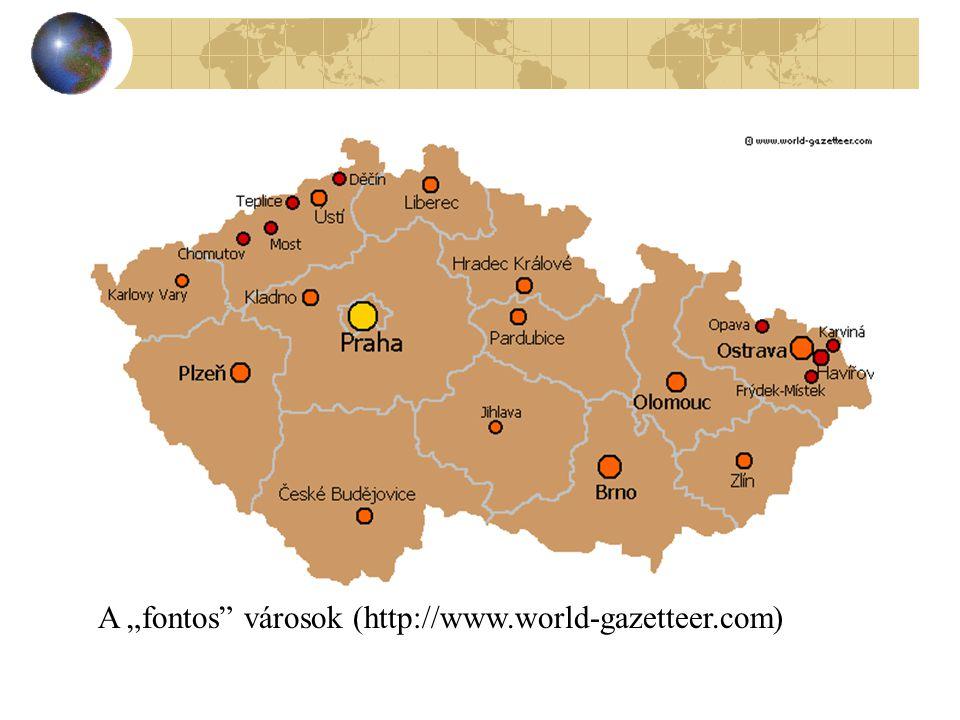 """A """"fontos városok (http://www.world-gazetteer.com)"""