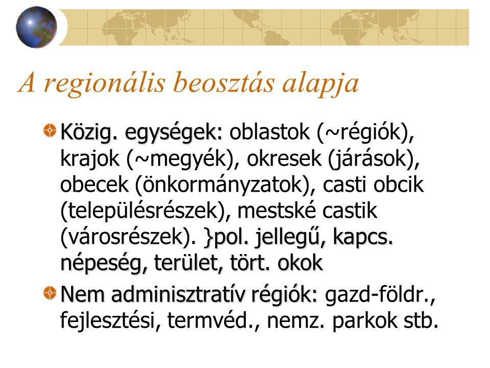 A regionális beosztás alapja Közig. egységek: }pol.