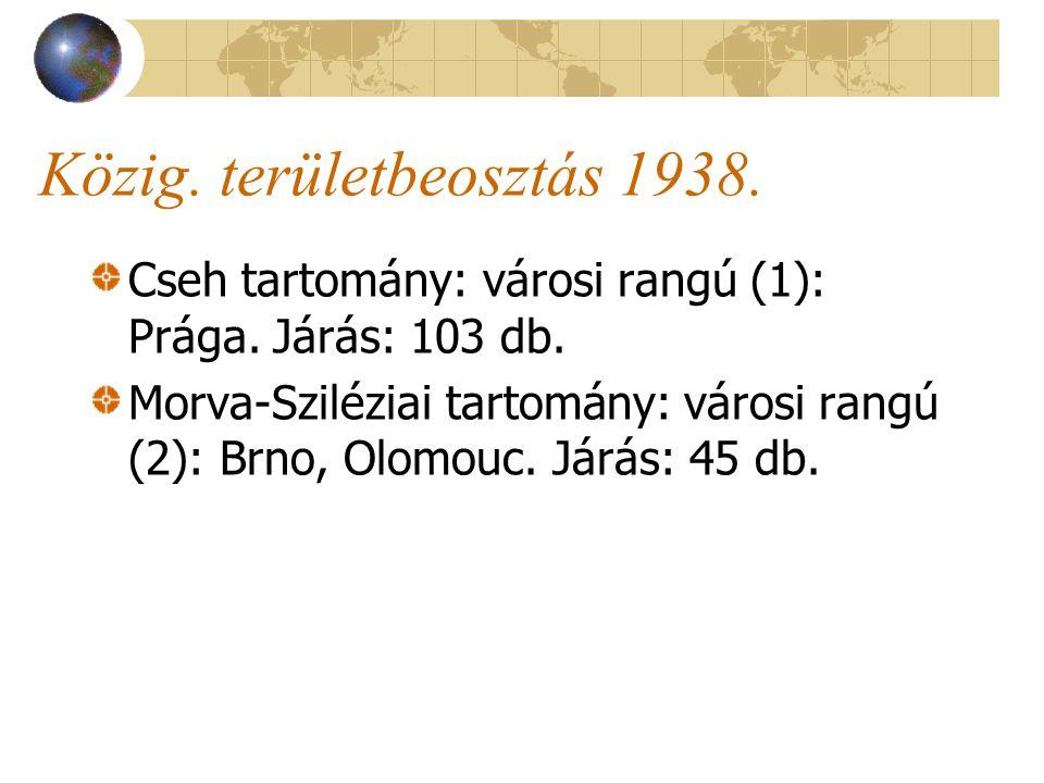 Közig. területbeosztás 1938. Cseh tartomány: városi rangú (1): Prága.
