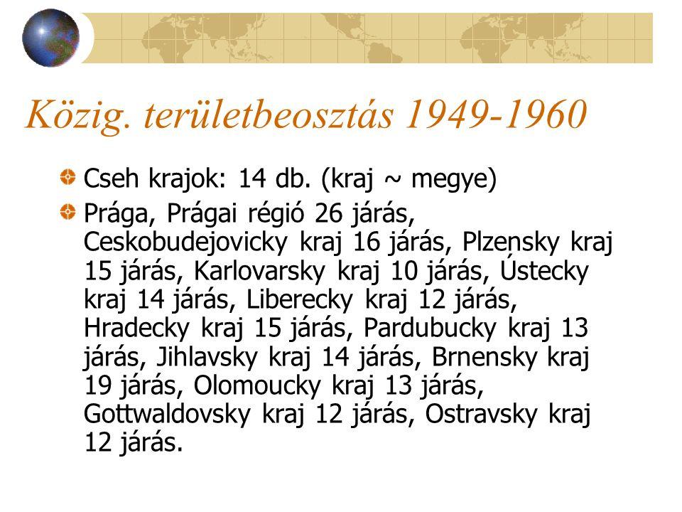 Közig. területbeosztás 1949-1960 Cseh krajok: 14 db.