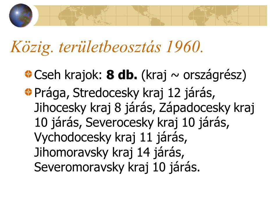 Közig. területbeosztás 1960. 8 db. Cseh krajok: 8 db.