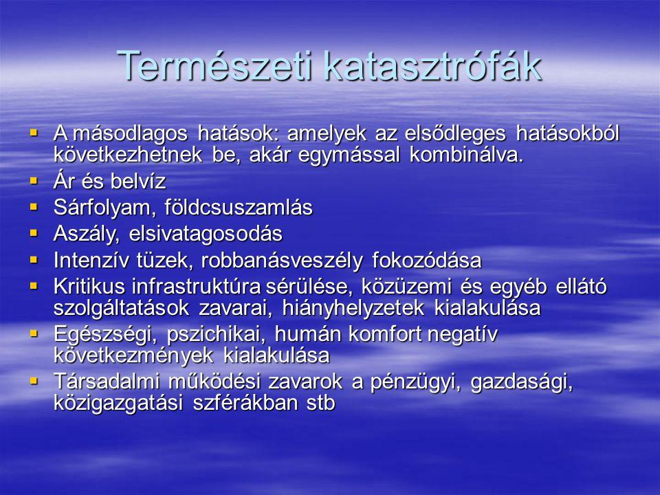 Természeti katasztrófák  A másodlagos hatások: amelyek az elsődleges hatásokból következhetnek be, akár egymással kombinálva.  Ár és belvíz  Sárfol