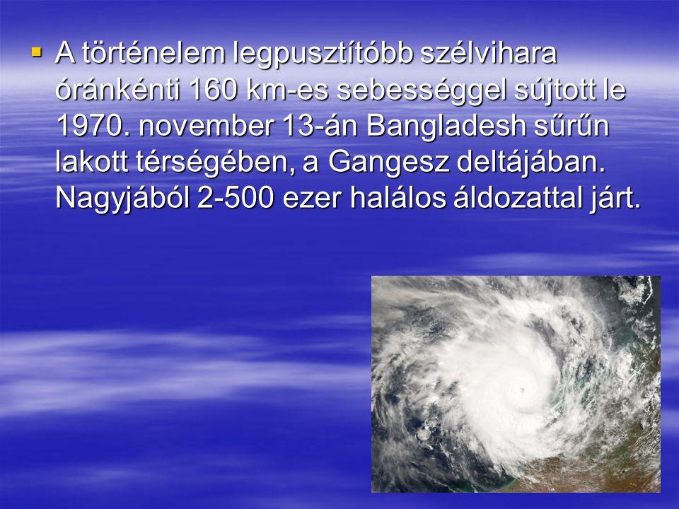  A történelem legpusztítóbb szélvihara óránkénti 160 km-es sebességgel sújtott le 1970. november 13-án Bangladesh sűrűn lakott térségében, a Gangesz