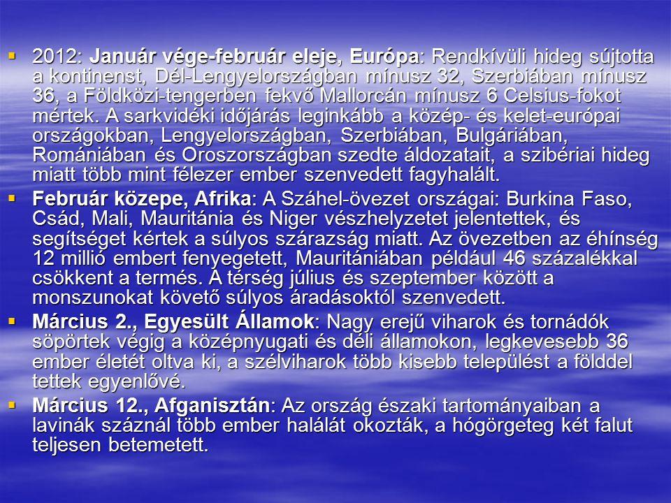  2012: Január vége-február eleje, Európa: Rendkívüli hideg sújtotta a kontinenst, Dél-Lengyelországban mínusz 32, Szerbiában mínusz 36, a Földközi-te