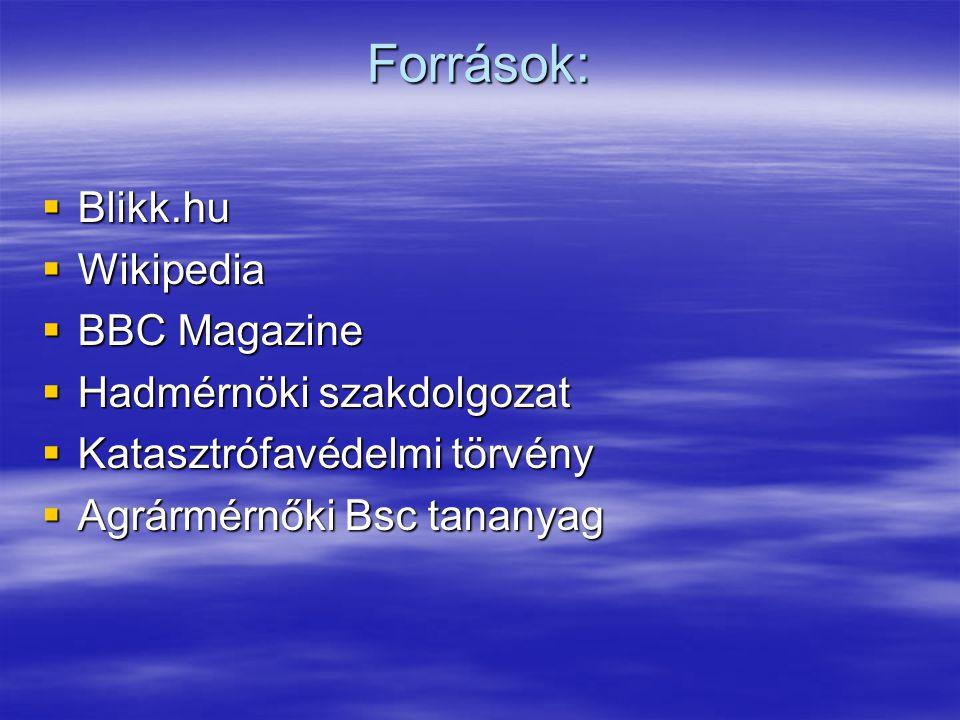 Források:  Blikk.hu  Wikipedia  BBC Magazine  Hadmérnöki szakdolgozat  Katasztrófavédelmi törvény  Agrármérnőki Bsc tananyag
