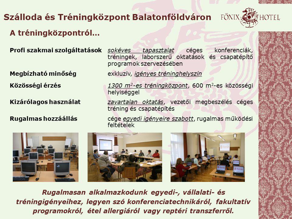 Szálloda és Tréningközpont Balatonföldváron Profi szakmai szolgáltatásoksokéves tapasztalat céges konferenciák, tréningek, laborszerű oktatások és csa