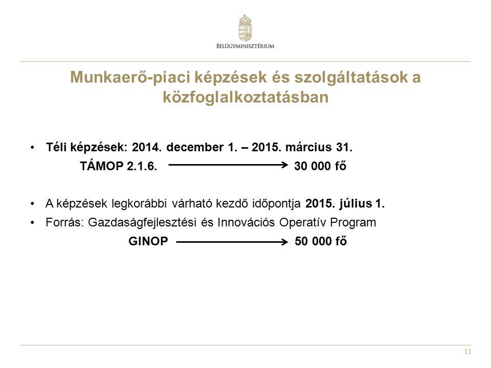 11 Munkaerő-piaci képzések és szolgáltatások a közfoglalkoztatásban Téli képzések: 2014. december 1. – 2015. március 31. TÁMOP 2.1.6. 30 000 fő A képz
