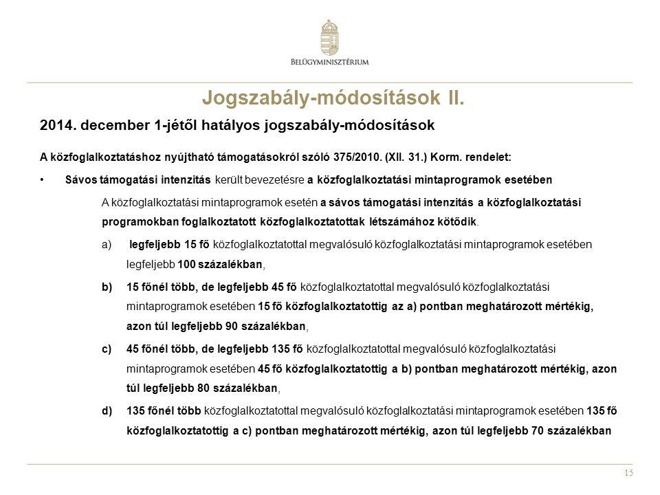 15 Jogszabály-módosítások II. 2014. december 1-jétől hatályos jogszabály-módosítások A közfoglalkoztatáshoz nyújtható támogatásokról szóló 375/2010. (