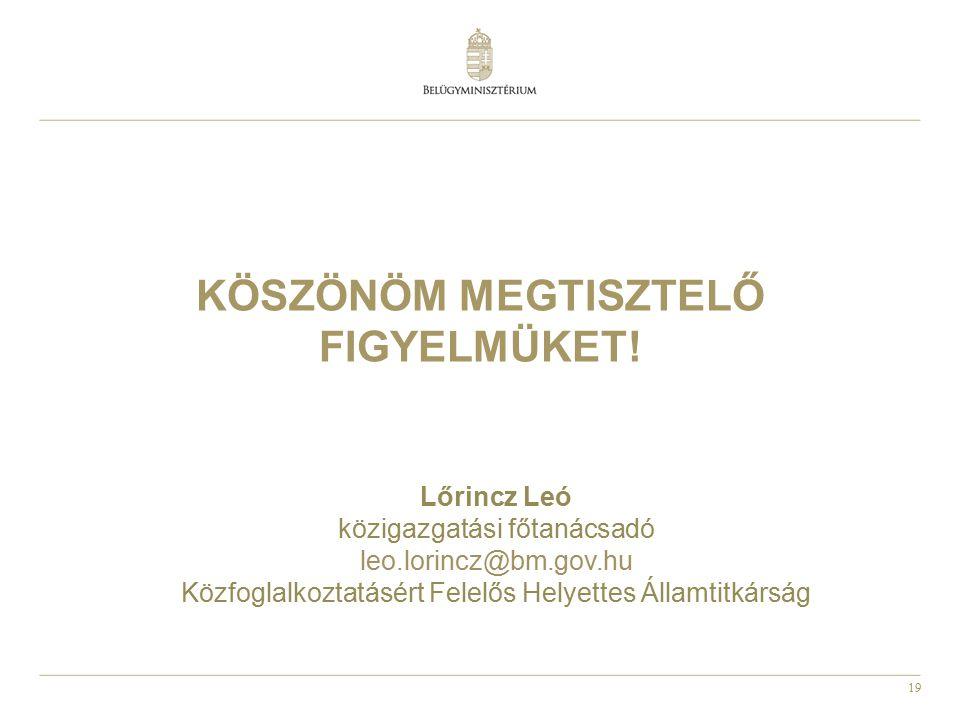 19 KÖSZÖNÖM MEGTISZTELŐ FIGYELMÜKET! Lőrincz Leó közigazgatási főtanácsadó leo.lorincz@bm.gov.hu Közfoglalkoztatásért Felelős Helyettes Államtitkárság