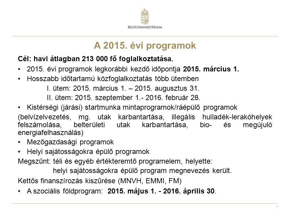 7 A 2015. évi programok Cél: havi átlagban 213 000 fő foglalkoztatása. 2015. évi programok legkorábbi kezdő időpontja 2015. március 1. Hosszabb időtar