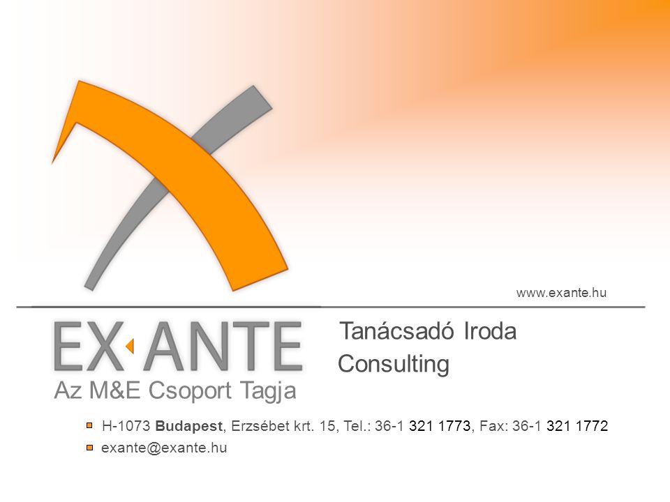 Az M&E Csoport Tagja Tanácsadó Iroda www.exante.hu H-1073 Budapest, Erzsébet krt.