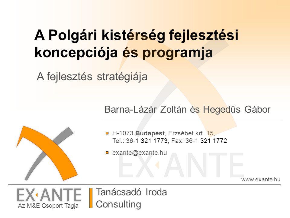 Az M&E Csoport Tagja Tanácsadó Iroda www.exante.hu H-1073 Budapest, Erzsébet krt. 15, Tel.: 36-1 321 1773, Fax: 36-1 321 1772 exante@exante.hu Consult
