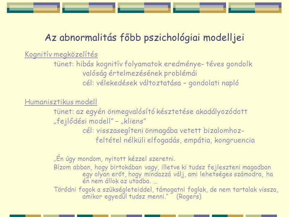 Az abnormalitás főbb pszichológiai modelljei Kognitív megközelítés tünet: hibás kognitív folyamatok eredménye- téves gondolk valóság értelmezésének pr