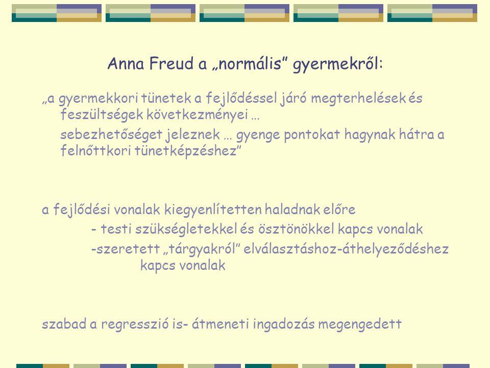 """Anna Freud a """"normális"""" gyermekről: """"a gyermekkori tünetek a fejlődéssel járó megterhelések és feszültségek következményei … sebezhetőséget jeleznek …"""