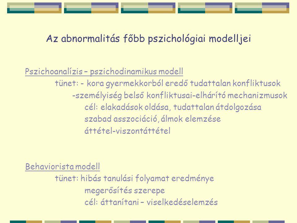 """Az abnormalitás főbb pszichológiai modelljei Kognitív megközelítés tünet: hibás kognitív folyamatok eredménye- téves gondolk valóság értelmezésének problémái cél: vélekedések változtatása – gondolati napló Humanisztikus modell tünet: az egyén önmegvalósító késztetése akadályozódott """"fejlődési modell – """"kliens cél: visszasegíteni önmagába vetett bizalomhoz- feltétel nélküli elfogadás, empátia, kongruencia """"Én úgy mondom, nyitott kézzel szeretni."""