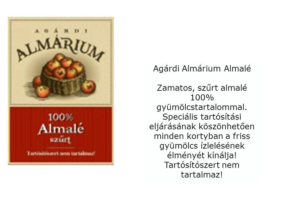 Agárdi Almárium Almalé Zamatos, szűrt almalé 100% gyümölcstartalommal. Speciális tartósítási eljárásának köszönhetően minden kortyban a friss gyümölcs