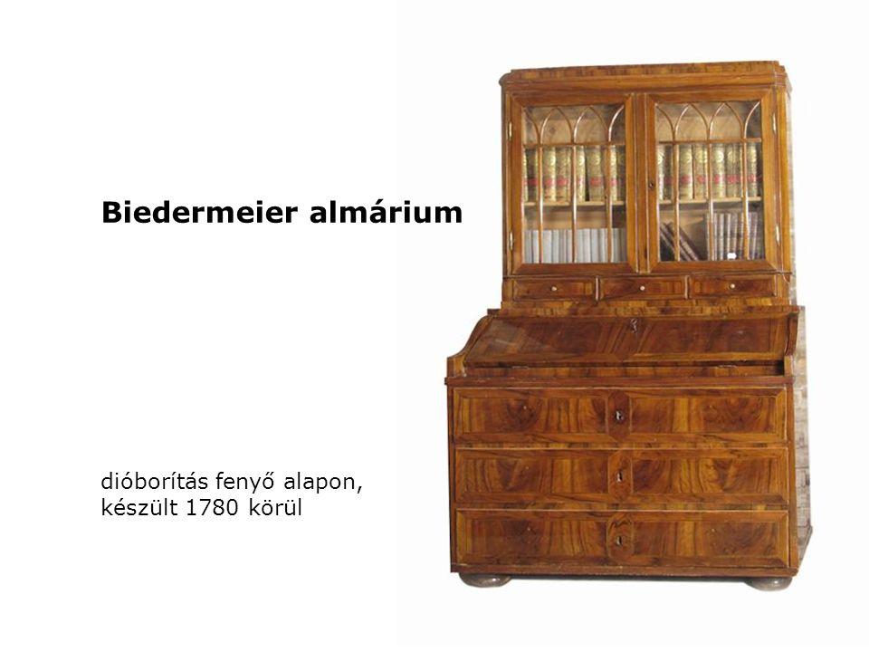 dióborítás fenyő alapon, készült 1780 körül Biedermeier almárium