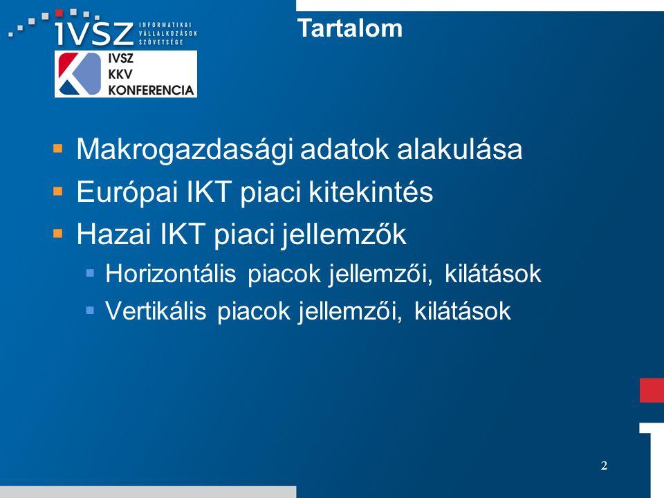 2  Makrogazdasági adatok alakulása  Európai IKT piaci kitekintés  Hazai IKT piaci jellemzők  Horizontális piacok jellemzői, kilátások  Vertikális piacok jellemzői, kilátások Tartalom