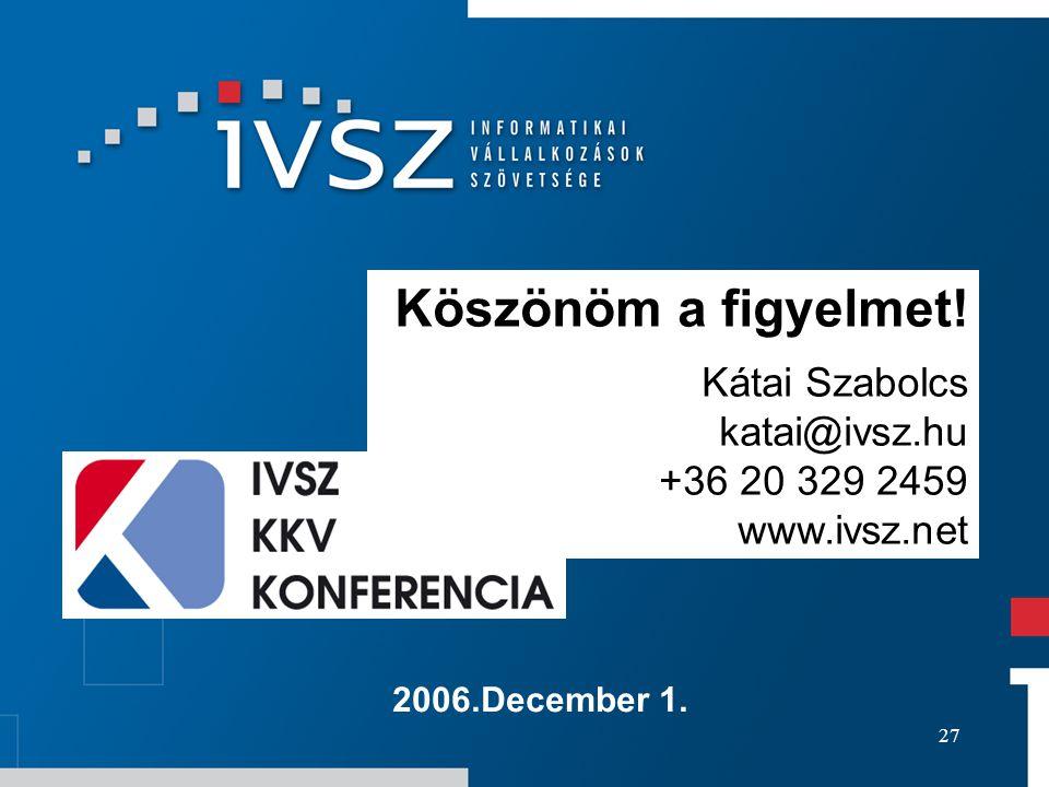 27 2006.December 1. Köszönöm a figyelmet! Kátai Szabolcs katai@ivsz.hu +36 20 329 2459 www.ivsz.net
