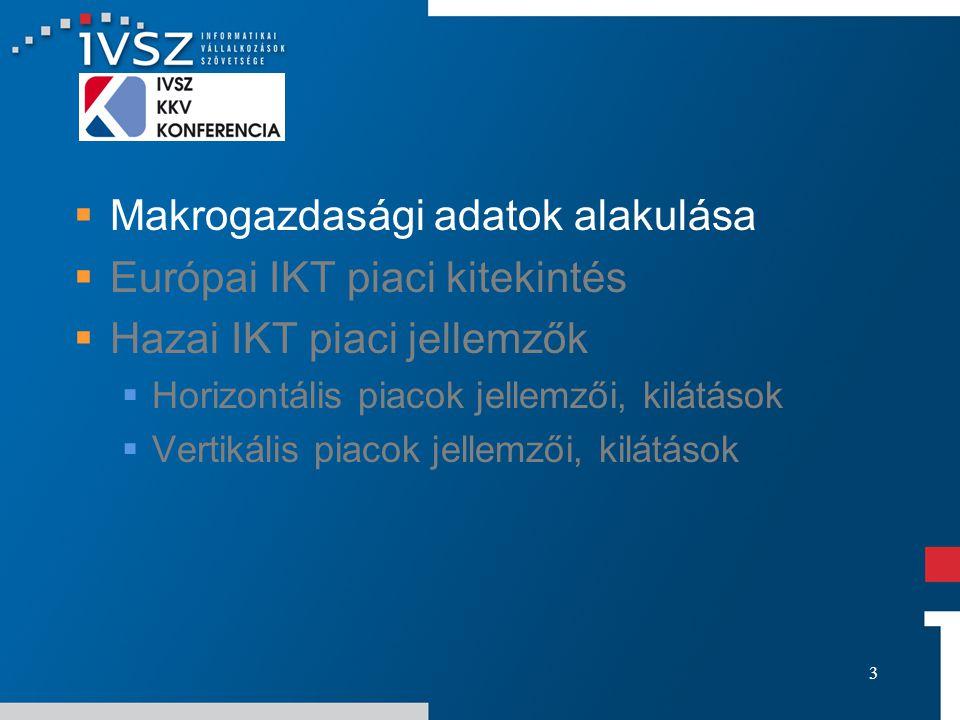 3  Makrogazdasági adatok alakulása  Európai IKT piaci kitekintés  Hazai IKT piaci jellemzők  Horizontális piacok jellemzői, kilátások  Vertikális piacok jellemzői, kilátások