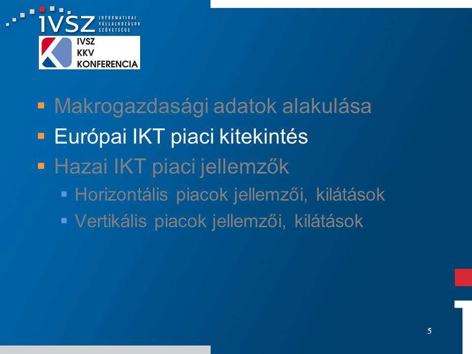 5  Makrogazdasági adatok alakulása  Európai IKT piaci kitekintés  Hazai IKT piaci jellemzők  Horizontális piacok jellemzői, kilátások  Vertikális piacok jellemzői, kilátások
