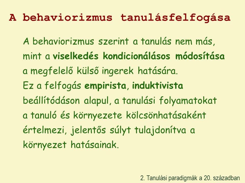 A behaviorizmus tanulásfelfogása 2. Tanulási paradigmák a 20.