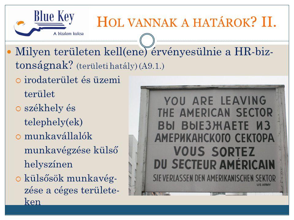 H OL VANNAK A HATÁROK . II. Milyen területen kell(ene) érvényesülnie a HR-biz- tonságnak.