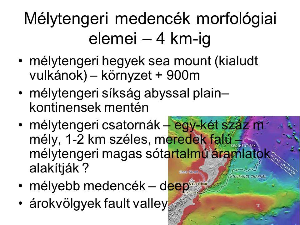 Mélytengeri medencék morfológiai elemei – 4 km-ig mélytengeri hegyek sea mount (kialudt vulkánok) – környzet + 900m mélytengeri síkság abyssal plain–