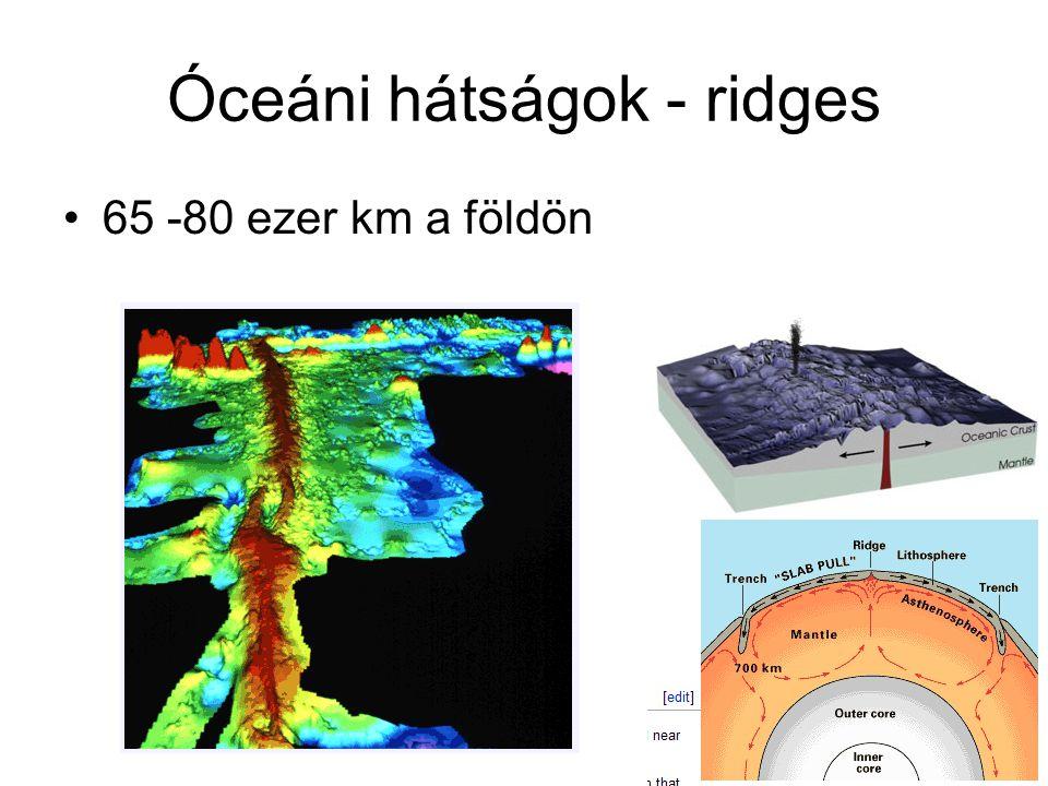 Óceáni hátságok - ridges 65 -80 ezer km a földön