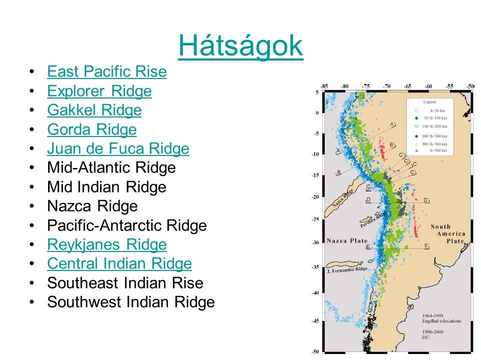 Hátságok East Pacific Rise Explorer Ridge Gakkel Ridge Gorda Ridge Juan de Fuca Ridge Mid-Atlantic Ridge Mid Indian Ridge Nazca Ridge Pacific-Antarcti