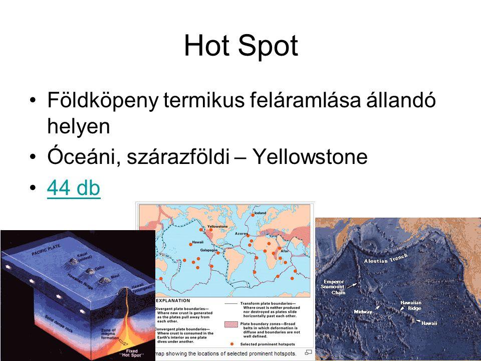 Hot Spot Földköpeny termikus feláramlása állandó helyen Óceáni, szárazföldi – Yellowstone 44 db