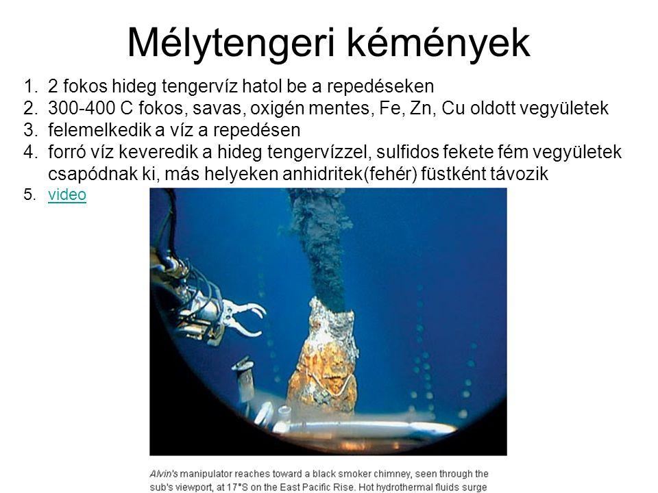 1.2 fokos hideg tengervíz hatol be a repedéseken 2.300-400 C fokos, savas, oxigén mentes, Fe, Zn, Cu oldott vegyületek 3.felemelkedik a víz a repedése