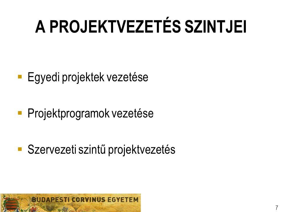 Szervezeti egység Előadó neve Egyetemi prezentációs sablon 7 A PROJEKTVEZETÉS SZINTJEI  Egyedi projektek vezetése  Projektprogramok vezetése  Szerv